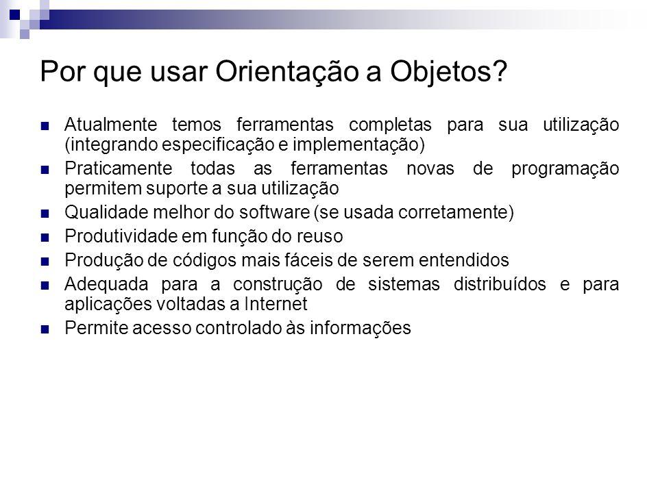 Por que usar Orientação a Objetos? Atualmente temos ferramentas completas para sua utilização (integrando especificação e implementação) Praticamente