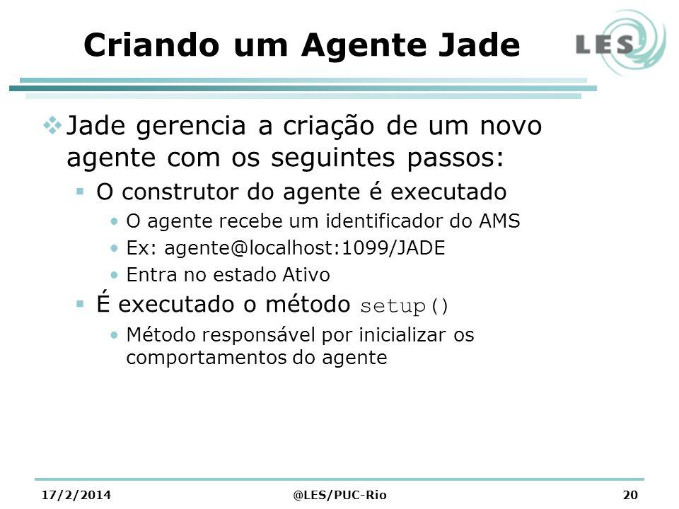 Criando um Agente Jade Jade gerencia a criação de um novo agente com os seguintes passos: O construtor do agente é executado O agente recebe um identi