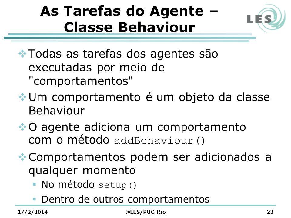 As Tarefas do Agente – Classe Behaviour Todas as tarefas dos agentes são executadas por meio de