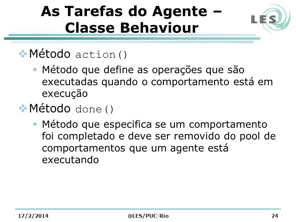 As Tarefas do Agente – Classe Behaviour Método action() Método que define as operações que são executadas quando o comportamento está em execução Méto