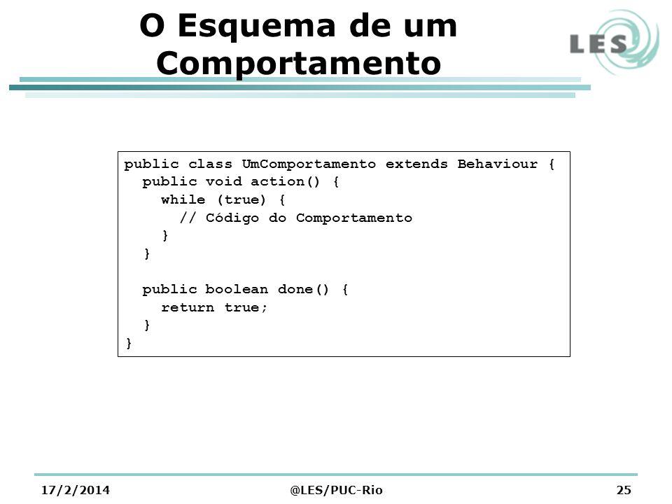 O Esquema de um Comportamento 17/2/2014@LES/PUC-Rio25 public class UmComportamento extends Behaviour { public void action() { while (true) { // Código do Comportamento } public boolean done() { return true; }