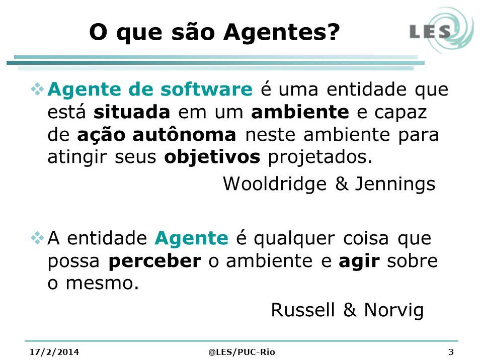 O que são Agentes? Agente de software é uma entidade que está situada em um ambiente e capaz de ação autônoma neste ambiente para atingir seus objetiv