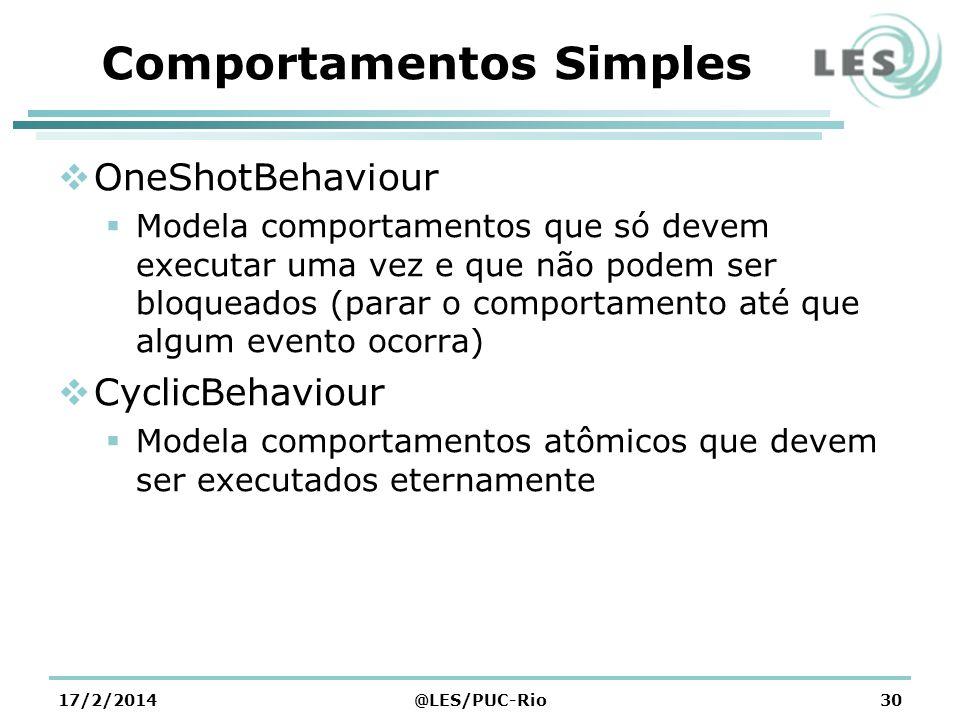Comportamentos Simples OneShotBehaviour Modela comportamentos que só devem executar uma vez e que não podem ser bloqueados (parar o comportamento até