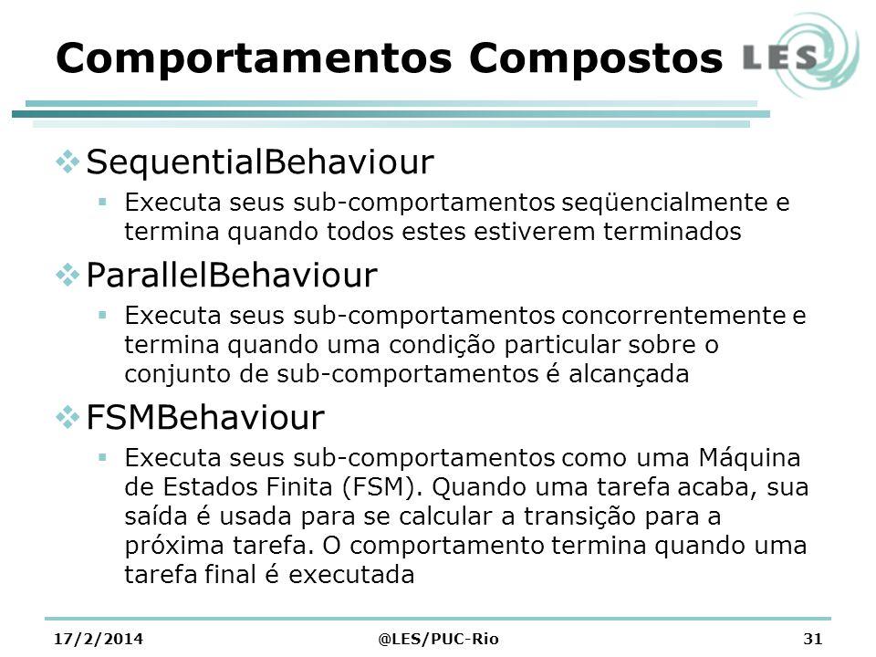 Comportamentos Compostos SequentialBehaviour Executa seus sub-comportamentos seqüencialmente e termina quando todos estes estiverem terminados ParallelBehaviour Executa seus sub-comportamentos concorrentemente e termina quando uma condição particular sobre o conjunto de sub-comportamentos é alcançada FSMBehaviour Executa seus sub-comportamentos como uma Máquina de Estados Finita (FSM).