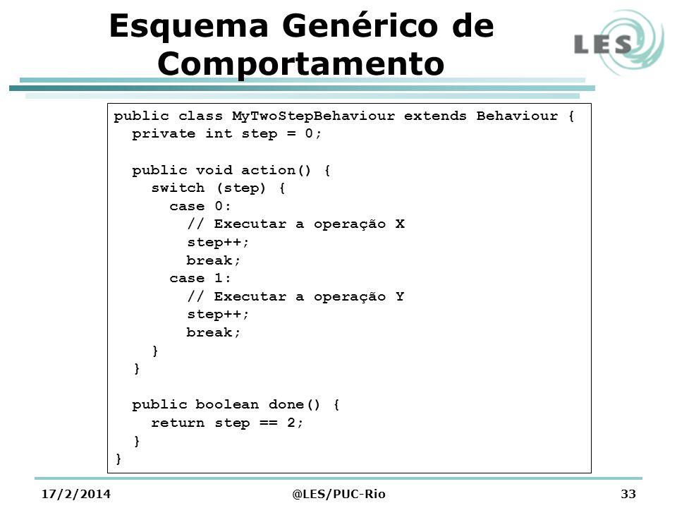 Esquema Genérico de Comportamento 17/2/2014@LES/PUC-Rio33 public class MyTwoStepBehaviour extends Behaviour { private int step = 0; public void action
