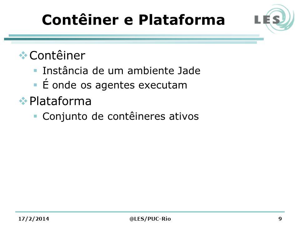 Contêiner e Plataforma Contêiner Instância de um ambiente Jade É onde os agentes executam Plataforma Conjunto de contêineres ativos 17/2/2014@LES/PUC-