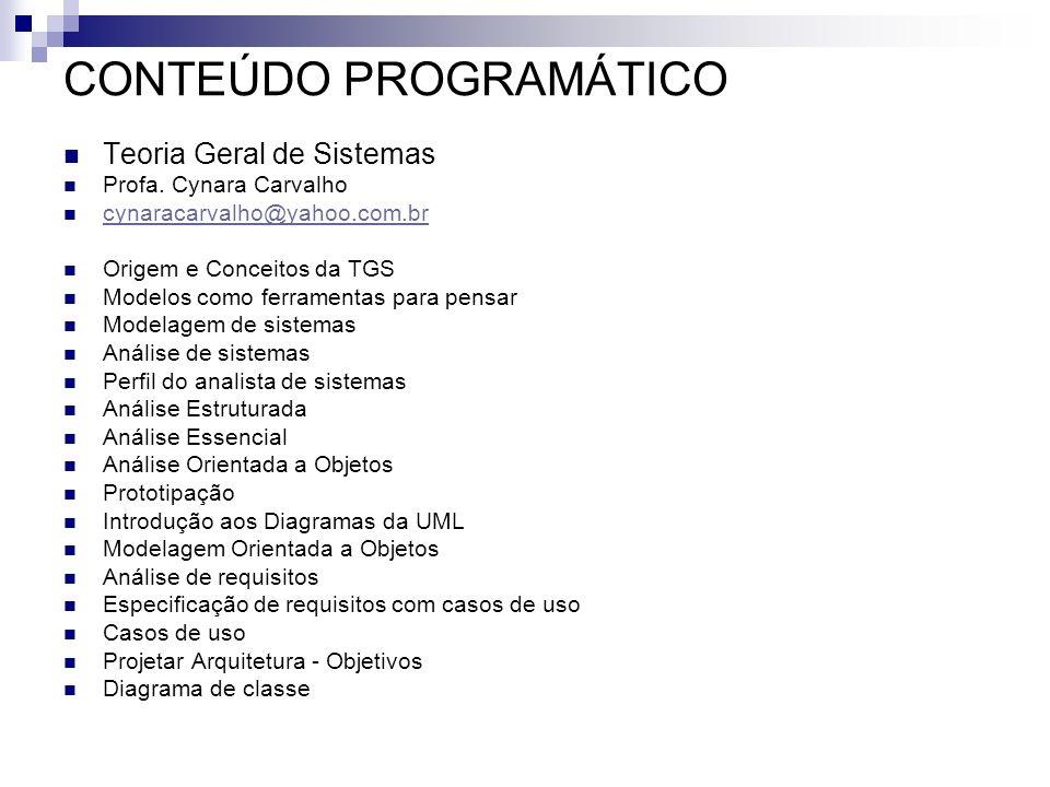 CONTEÚDO PROGRAMÁTICO Teoria Geral de Sistemas Profa. Cynara Carvalho cynaracarvalho@yahoo.com.br Origem e Conceitos da TGS Modelos como ferramentas p