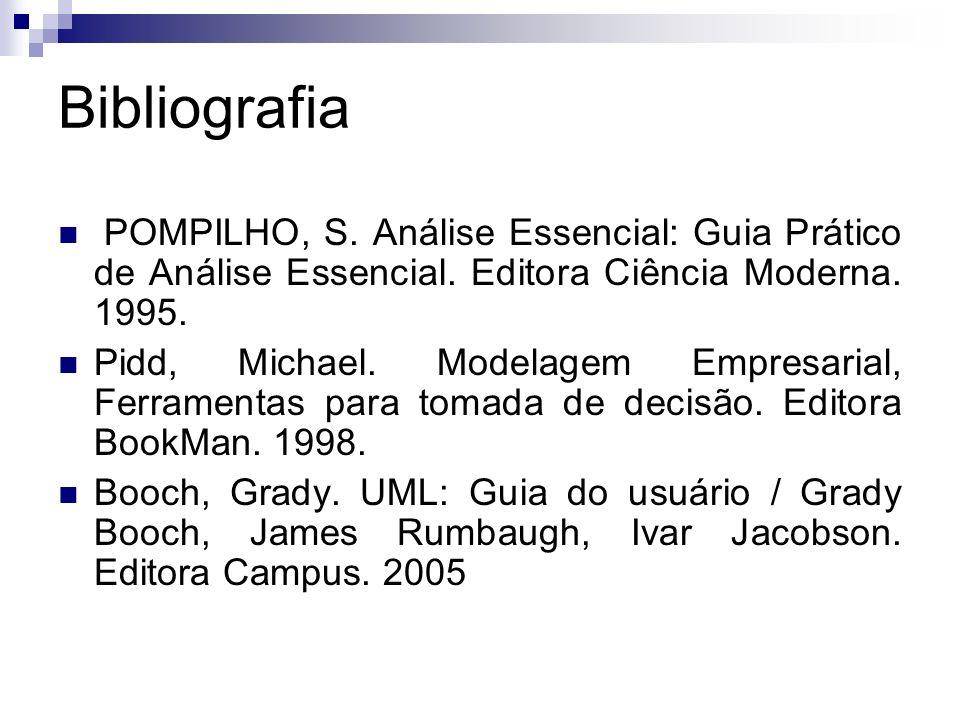 Bibliografia POMPILHO, S. Análise Essencial: Guia Prático de Análise Essencial. Editora Ciência Moderna. 1995. Pidd, Michael. Modelagem Empresarial, F
