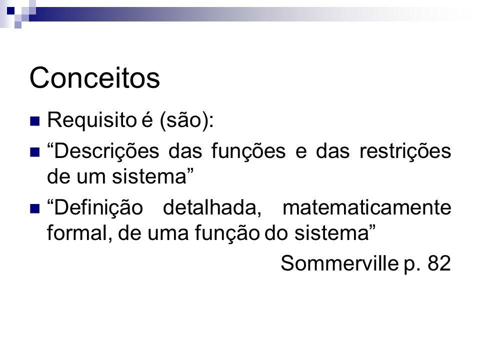 Conceitos Requisito é (são): Descrições das funções e das restrições de um sistema Definição detalhada, matematicamente formal, de uma função do siste