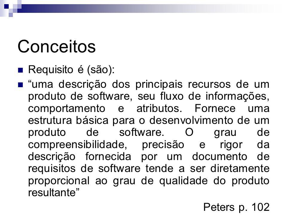 Conceitos Requisito é (são): uma descrição dos principais recursos de um produto de software, seu fluxo de informações, comportamento e atributos. For