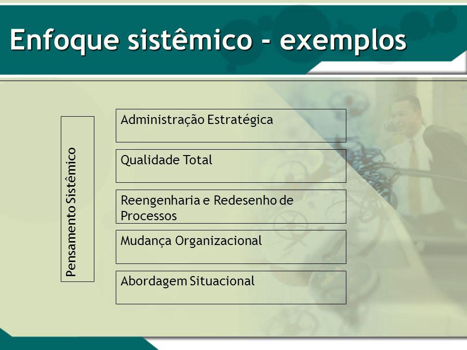 Enfoque sistêmico - exemplos Pensamento Sistêmico Administração Estratégica Qualidade Total Reengenharia e Redesenho de Processos Mudança Organizacion