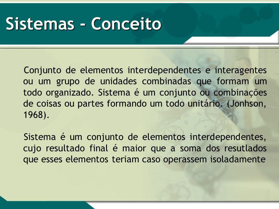Sistemas - Conceito Conjunto de elementos interdependentes e interagentes ou um grupo de unidades combinadas que formam um todo organizado. Sistema é