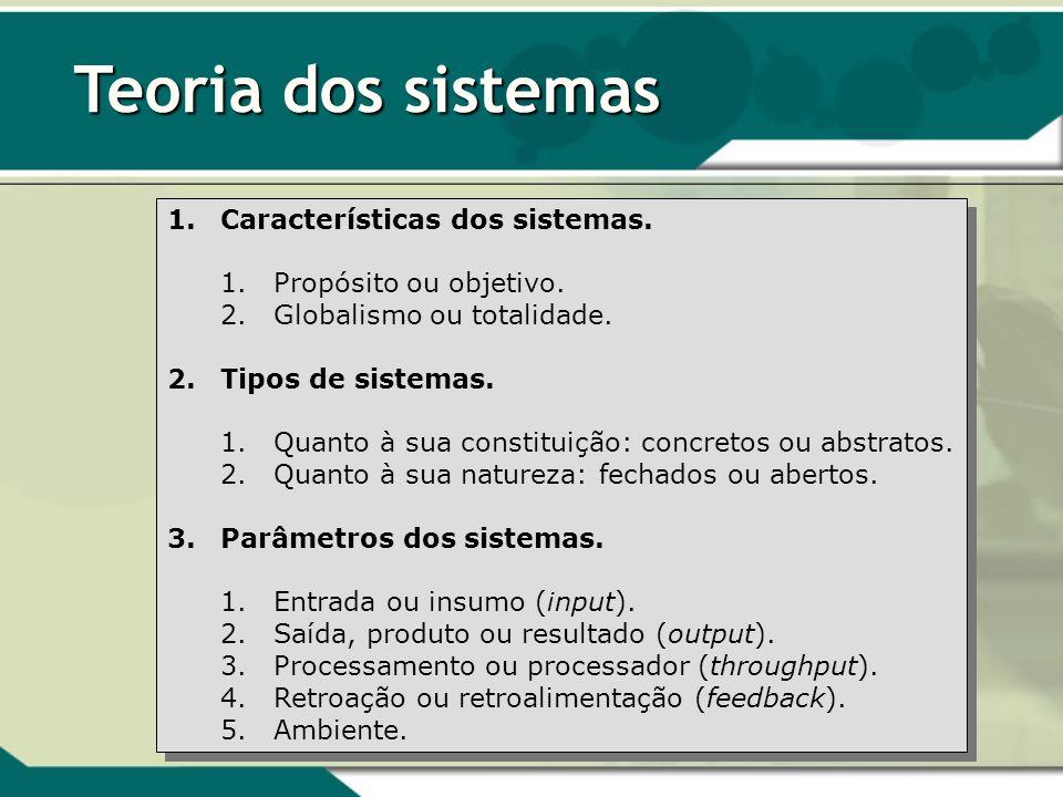 Teoria dos sistemas 1.Características dos sistemas. 1.Propósito ou objetivo. 2.Globalismo ou totalidade. 2.Tipos de sistemas. 1.Quanto à sua constitui