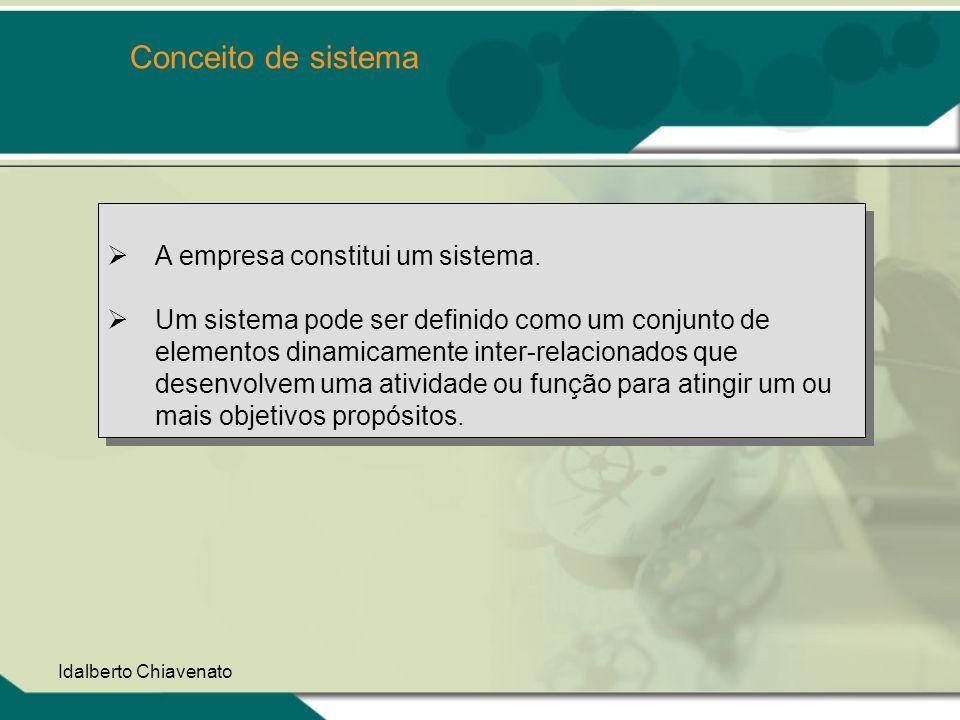 Idalberto Chiavenato Conceito de sistema A empresa constitui um sistema. Um sistema pode ser definido como um conjunto de elementos dinamicamente inte