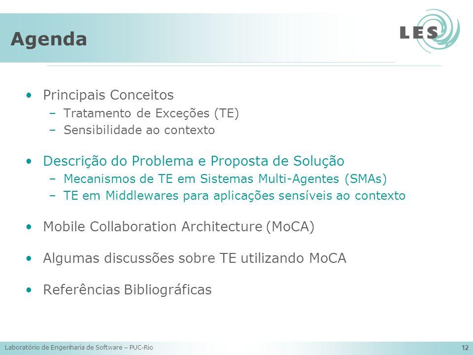 Laboratório de Engenharia de Software – PUC-Rio 12 Agenda Principais Conceitos –Tratamento de Exceções (TE) –Sensibilidade ao contexto Descrição do Pr