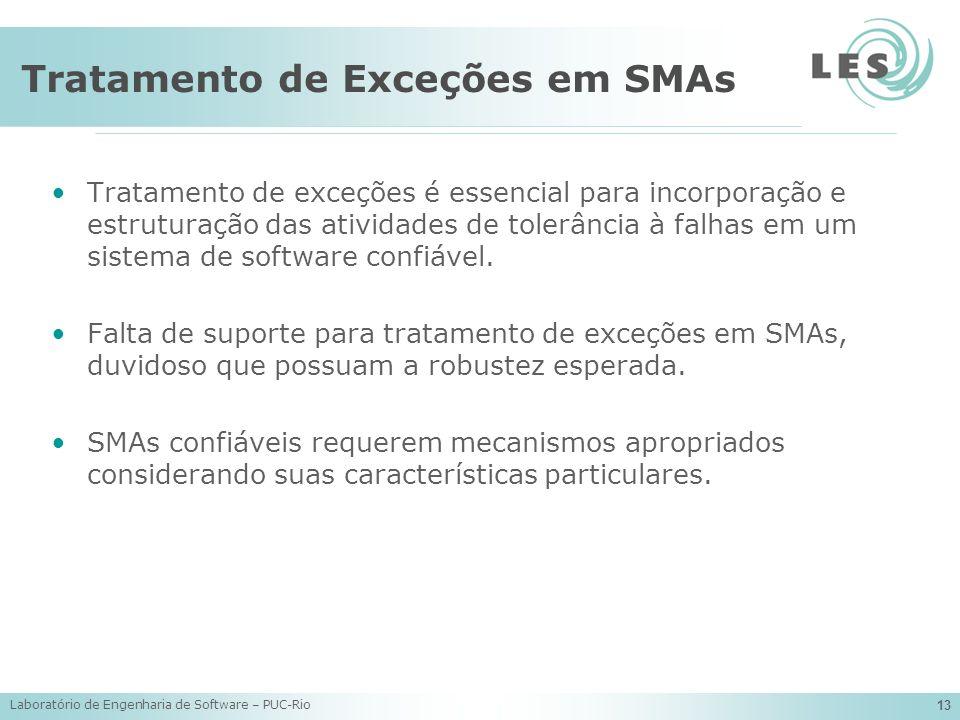 Laboratório de Engenharia de Software – PUC-Rio 13 Tratamento de Exceções em SMAs Tratamento de exceções é essencial para incorporação e estruturação