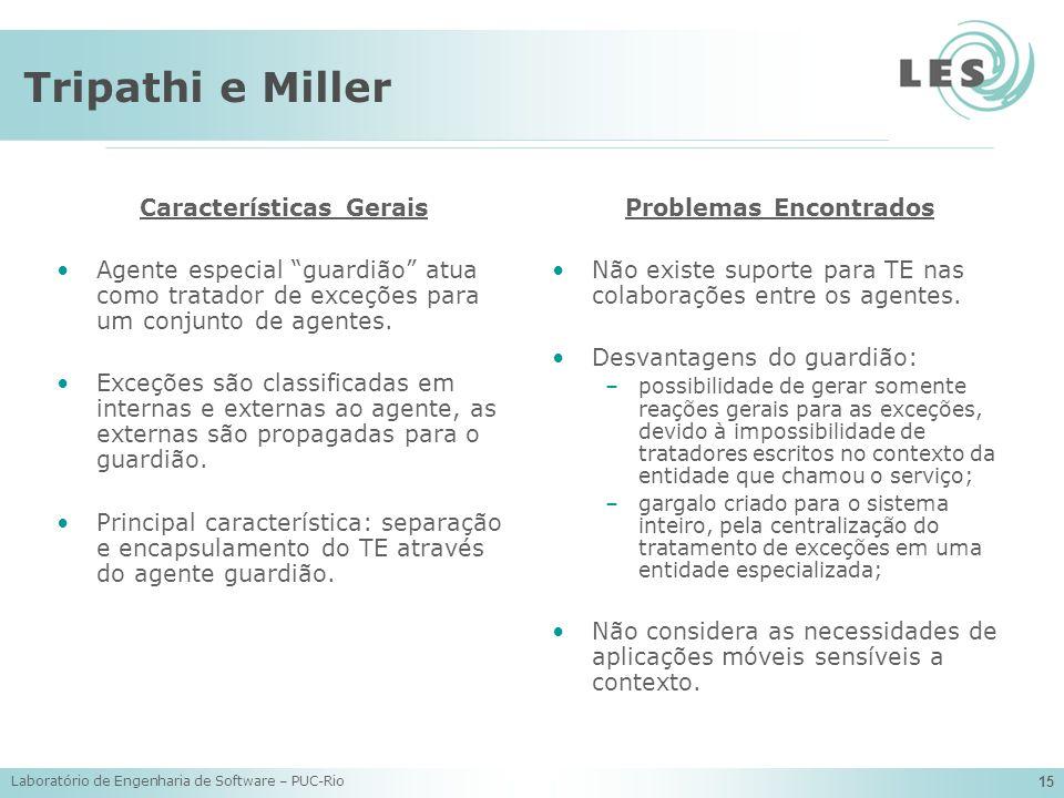 Laboratório de Engenharia de Software – PUC-Rio 15 Tripathi e Miller Características Gerais Agente especial guardião atua como tratador de exceções pa