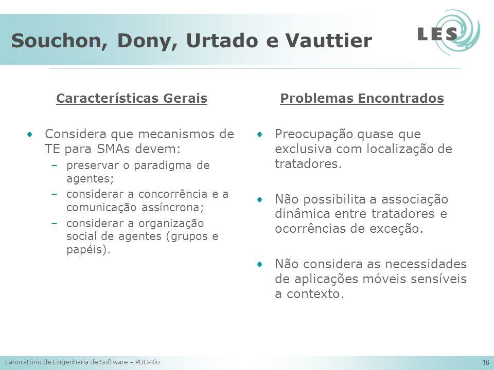 Laboratório de Engenharia de Software – PUC-Rio 16 Souchon, Dony, Urtado e Vauttier Características Gerais Considera que mecanismos de TE para SMAs de