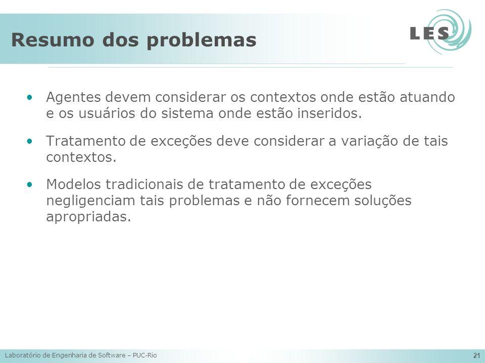 Laboratório de Engenharia de Software – PUC-Rio 21 Resumo dos problemas Agentes devem considerar os contextos onde estão atuando e os usuários do sist