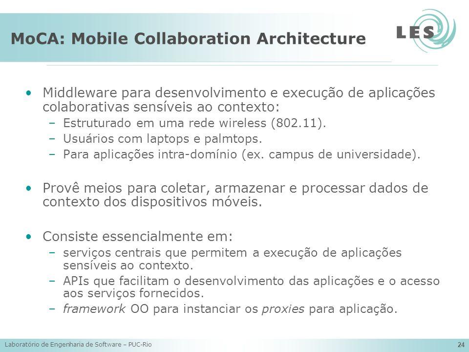 Laboratório de Engenharia de Software – PUC-Rio 24 MoCA: Mobile Collaboration Architecture Middleware para desenvolvimento e execução de aplicações co
