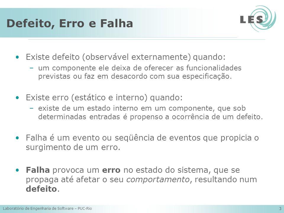 Laboratório de Engenharia de Software – PUC-Rio 3 Defeito, Erro e Falha Existe defeito (observável externamente) quando: –um componente ele deixa de o