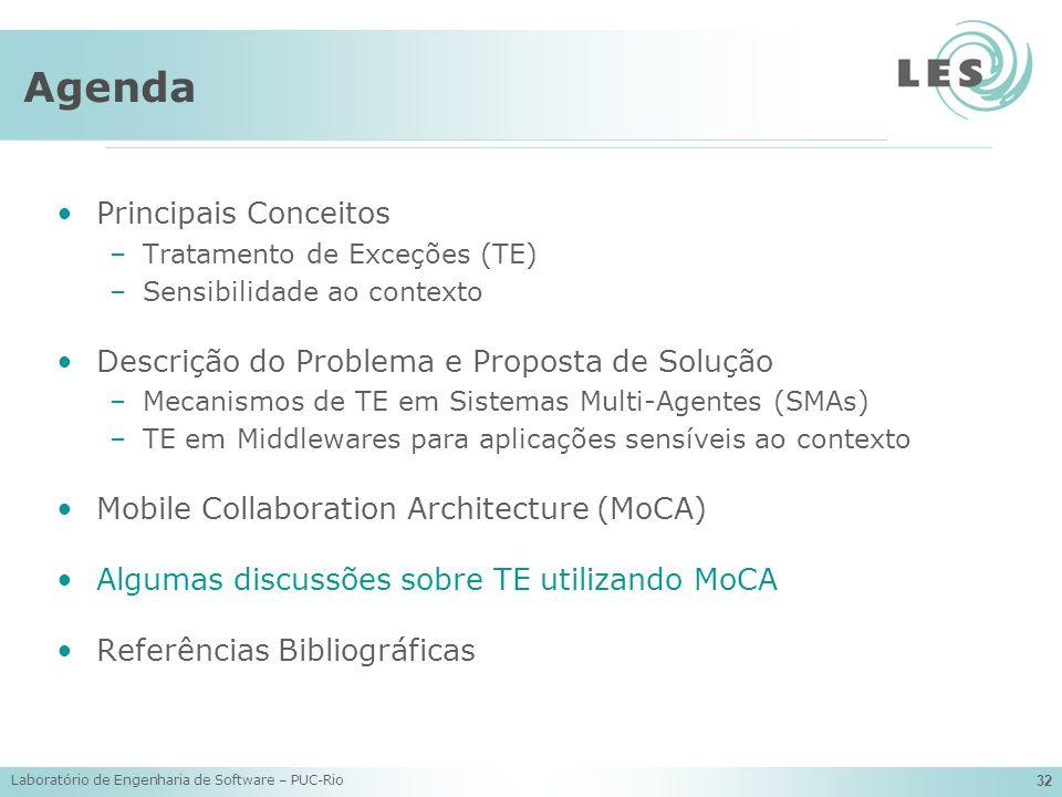 Laboratório de Engenharia de Software – PUC-Rio 32 Agenda Principais Conceitos –Tratamento de Exceções (TE) –Sensibilidade ao contexto Descrição do Pr