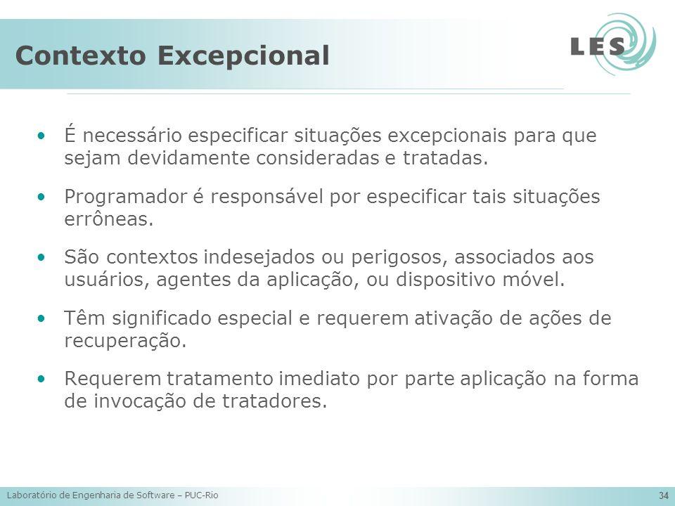Laboratório de Engenharia de Software – PUC-Rio 34 Contexto Excepcional É necessário especificar situações excepcionais para que sejam devidamente con