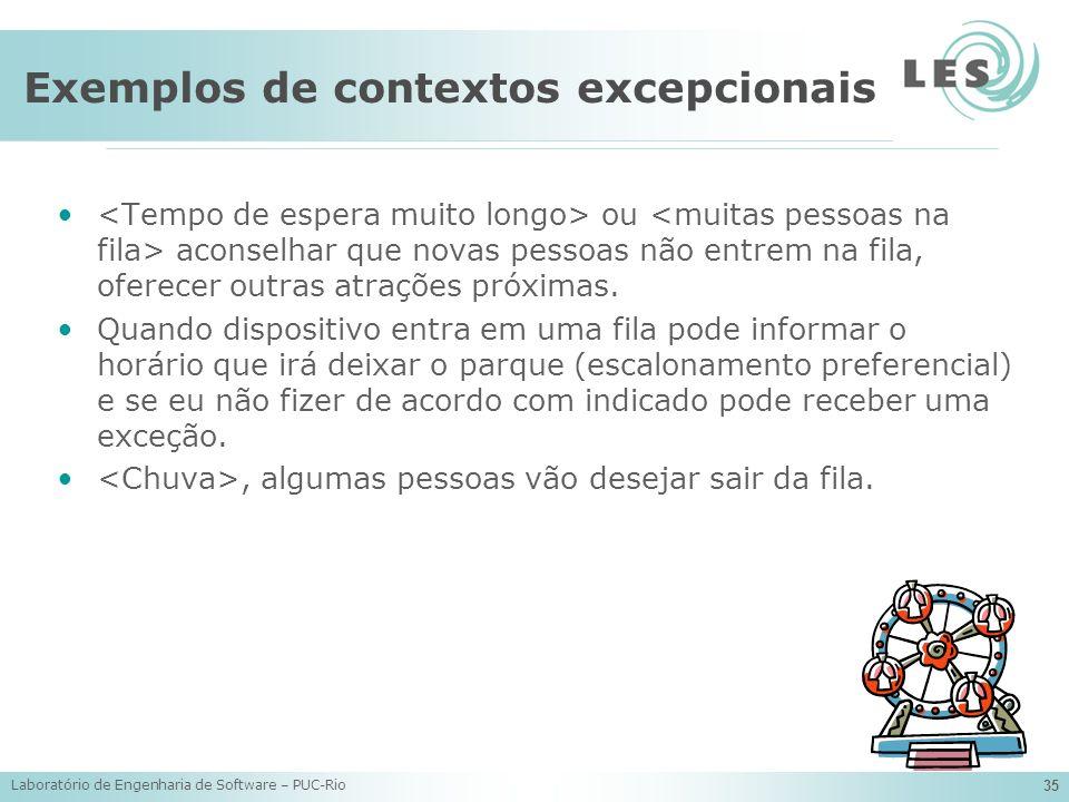 Laboratório de Engenharia de Software – PUC-Rio 35 Exemplos de contextos excepcionais ou aconselhar que novas pessoas não entrem na fila, oferecer out