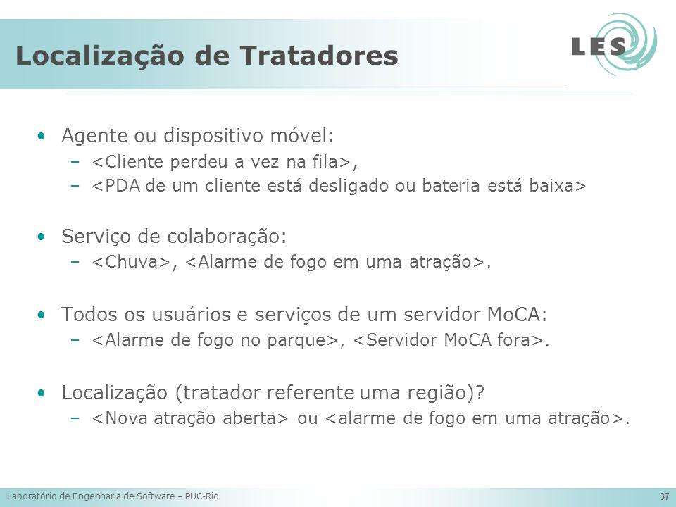 Laboratório de Engenharia de Software – PUC-Rio 37 Localização de Tratadores Agente ou dispositivo móvel: –, – Serviço de colaboração: –,. Todos os us