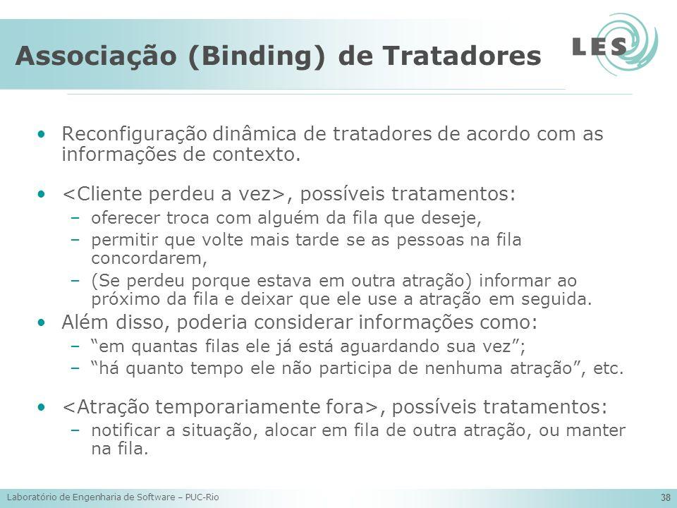 Laboratório de Engenharia de Software – PUC-Rio 38 Associação (Binding) de Tratadores Reconfiguração dinâmica de tratadores de acordo com as informaçõ