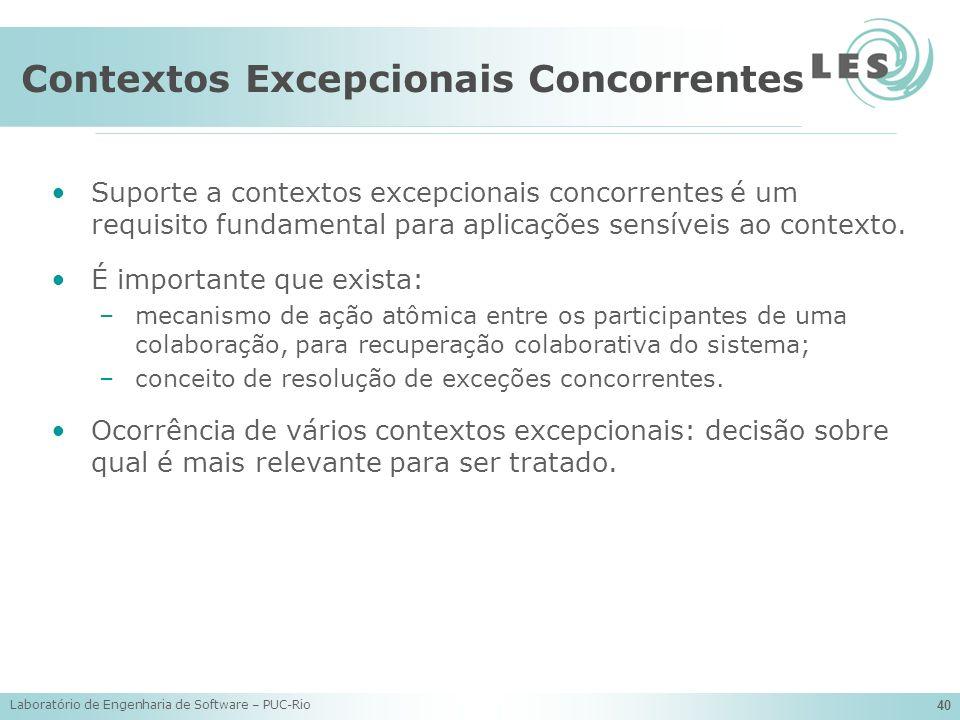 Laboratório de Engenharia de Software – PUC-Rio 40 Contextos Excepcionais Concorrentes Suporte a contextos excepcionais concorrentes é um requisito fu