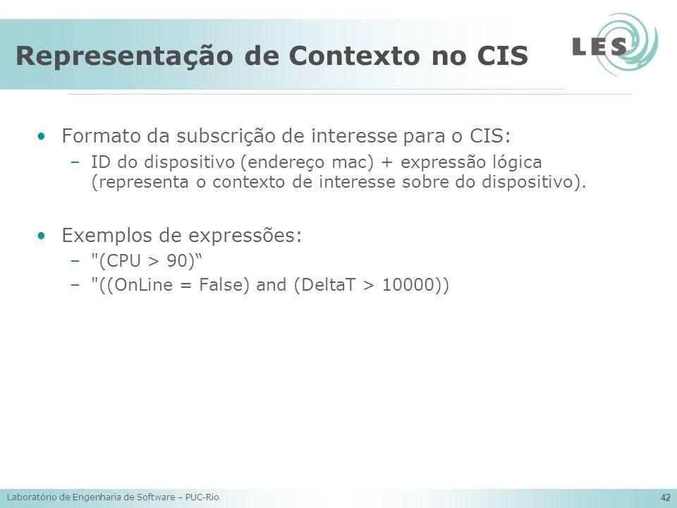 Laboratório de Engenharia de Software – PUC-Rio 42 Representação de Contexto no CIS Formato da subscrição de interesse para o CIS: –ID do dispositivo