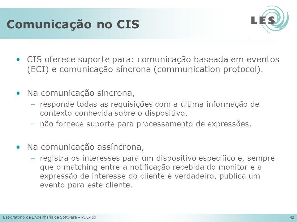Laboratório de Engenharia de Software – PUC-Rio 43 Comunicação no CIS CIS oferece suporte para: comunicação baseada em eventos (ECI) e comunicação sín