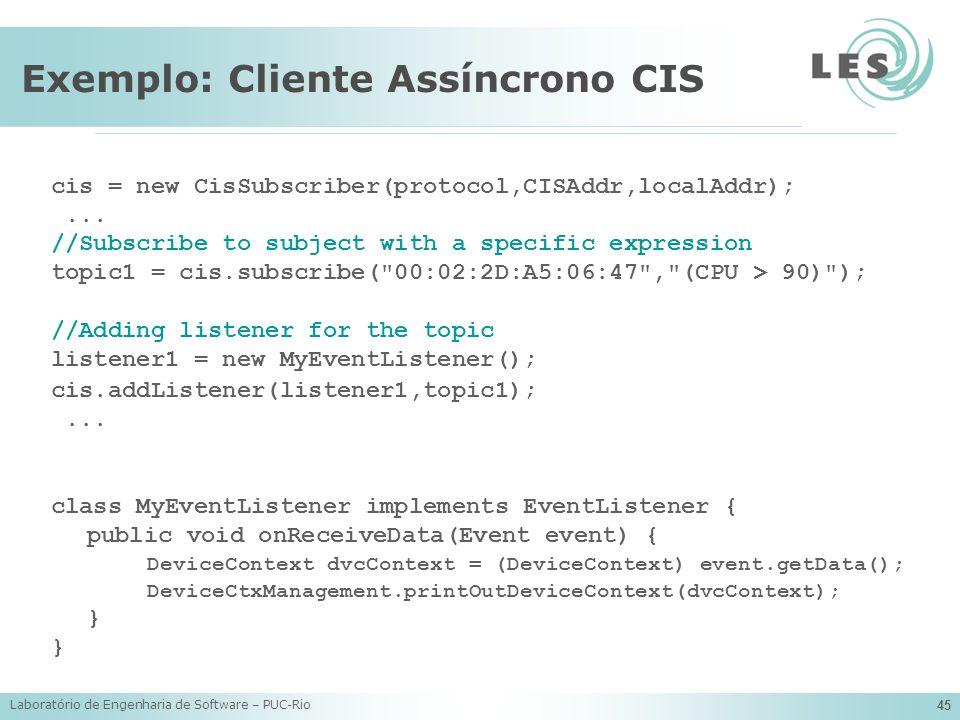 Laboratório de Engenharia de Software – PUC-Rio 45 Exemplo: Cliente Assíncrono CIS cis = new CisSubscriber(protocol,CISAddr,localAddr);... //Subscribe