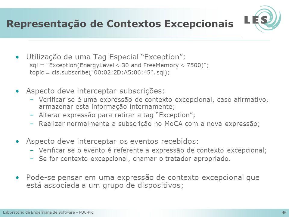 Laboratório de Engenharia de Software – PUC-Rio 46 Representação de Contextos Excepcionais Utilização de uma Tag Especial Exception: sql = Exception(E