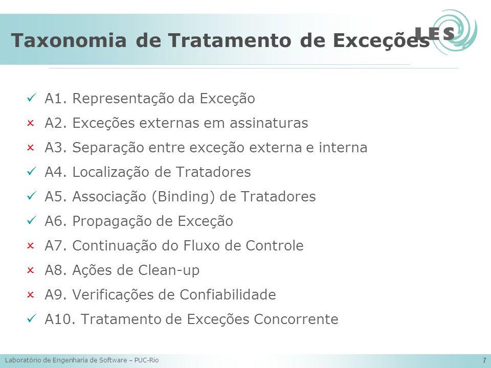 Laboratório de Engenharia de Software – PUC-Rio 7 Taxonomia de Tratamento de Exceções A1. Representação da Exceção A2. Exceções externas em assinatura