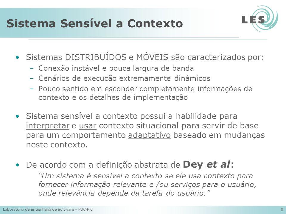 Laboratório de Engenharia de Software – PUC-Rio 9 Sistema Sensível a Contexto Sistemas DISTRIBUÍDOS e MÓVEIS são caracterizados por: –Conexão instável