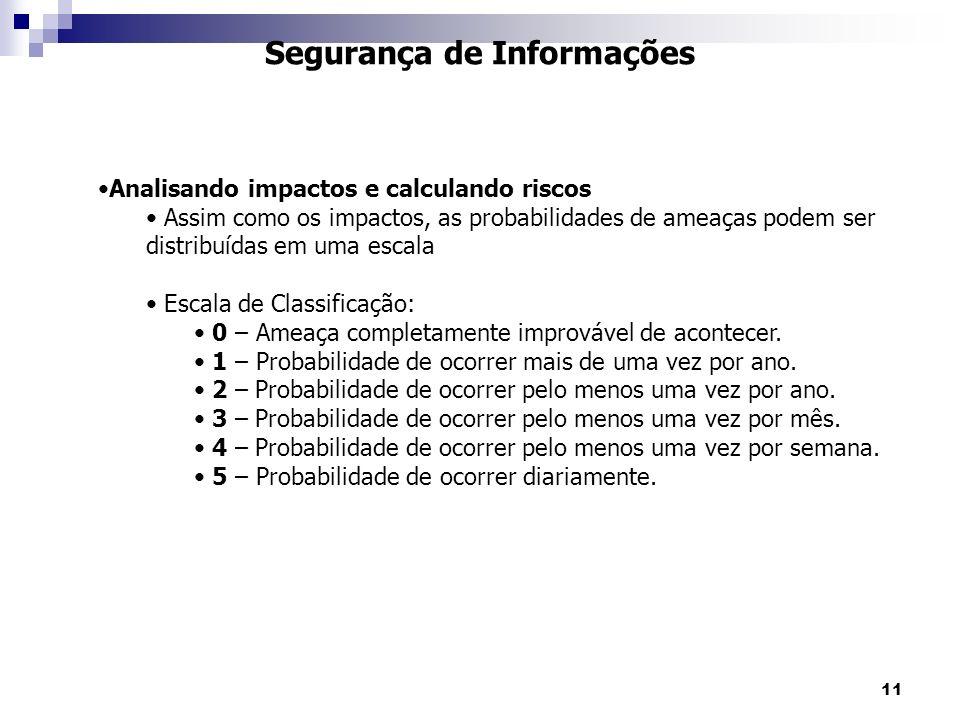 11 Segurança de Informações Analisando impactos e calculando riscos Assim como os impactos, as probabilidades de ameaças podem ser distribuídas em uma