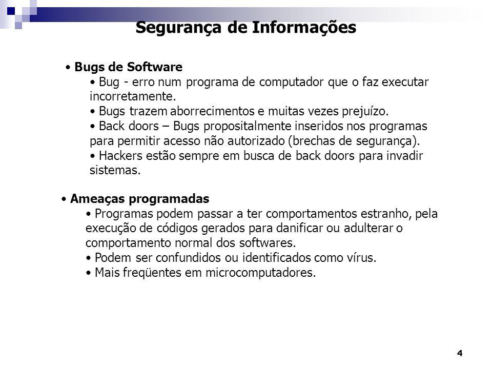 4 Segurança de Informações Bugs de Software Bug - erro num programa de computador que o faz executar incorretamente. Bugs trazem aborrecimentos e muit