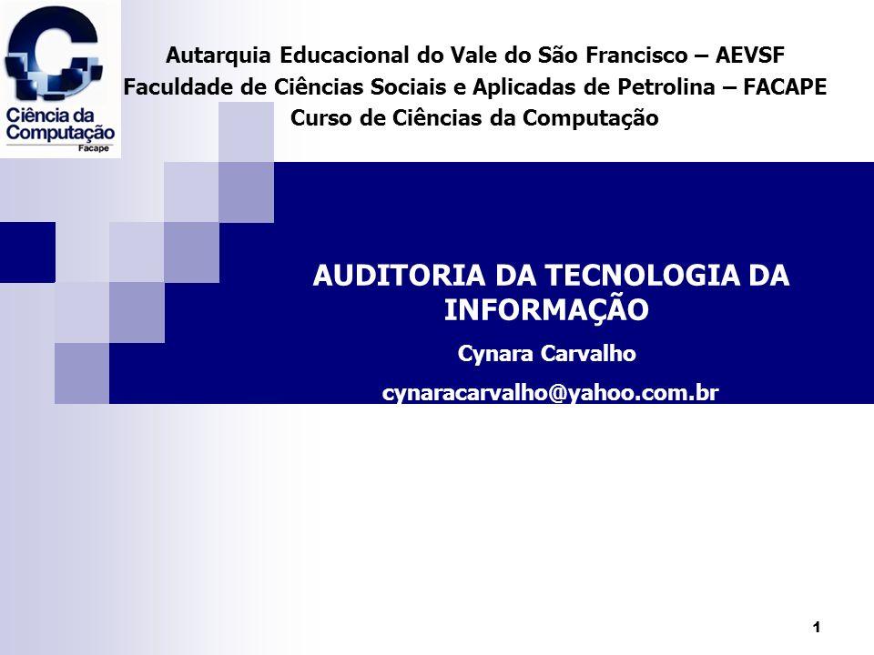 2 Auditoria de Tecnologia da Informação Introdução Auditoria de TI = Auditoria de Sistemas Nesse tipo de auditoria é analisado um conjunto de controles gerenciais e procedimentos que afetam o ambiente de informática.