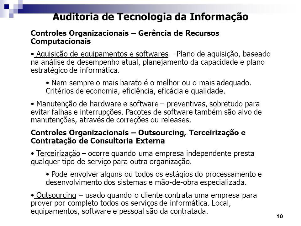 10 Auditoria de Tecnologia da Informação Controles Organizacionais – Gerência de Recursos Computacionais Aquisição de equipamentos e softwares – Plano