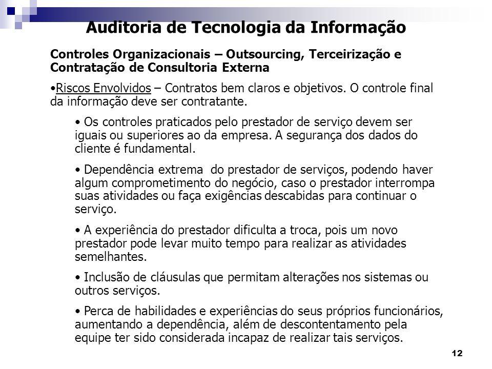 12 Auditoria de Tecnologia da Informação Controles Organizacionais – Outsourcing, Terceirização e Contratação de Consultoria Externa Riscos Envolvidos