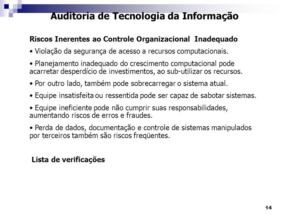 14 Auditoria de Tecnologia da Informação Riscos Inerentes ao Controle Organizacional Inadequado Violação da segurança de acesso a recursos computacion