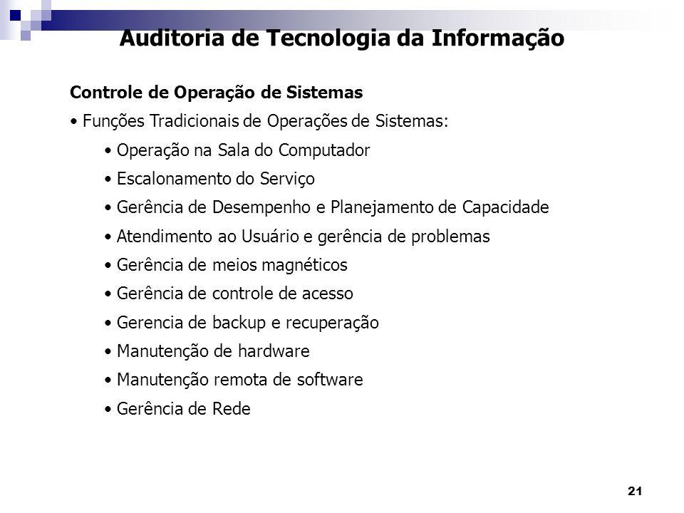 21 Auditoria de Tecnologia da Informação Controle de Operação de Sistemas Funções Tradicionais de Operações de Sistemas: Operação na Sala do Computado