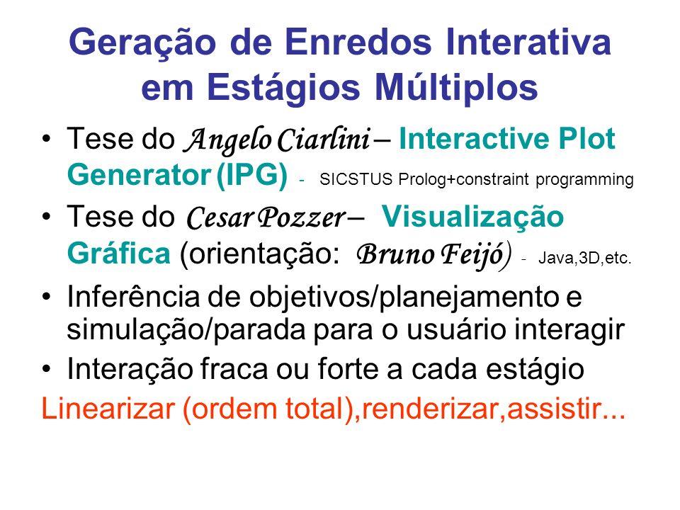 Geração de Enredos Interativa em Estágios Múltiplos Tese do Angelo Ciarlini – Interactive Plot Generator (IPG) - SICSTUS Prolog+constraint programming