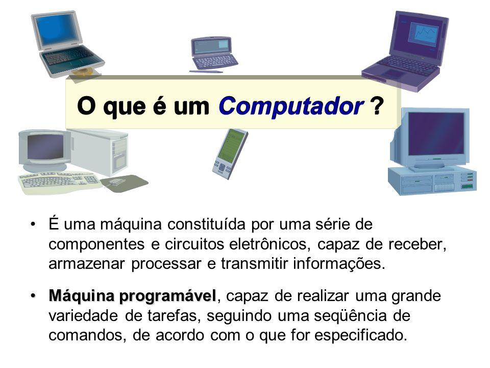 O que é um Computador ? É uma máquina constituída por uma série de componentes e circuitos eletrônicos, capaz de receber, armazenar processar e transm