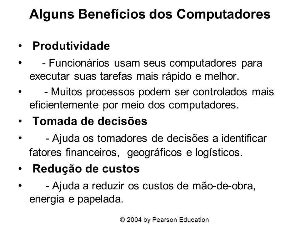 Alguns Benefícios dos Computadores Produtividade - Funcionários usam seus computadores para executar suas tarefas mais rápido e melhor. - Muitos proce