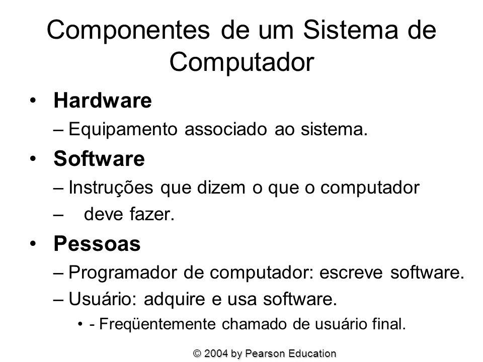 Componentes de um Sistema de Computador Hardware –Equipamento associado ao sistema. Software –Instruções que dizem o que o computador – deve fazer. Pe