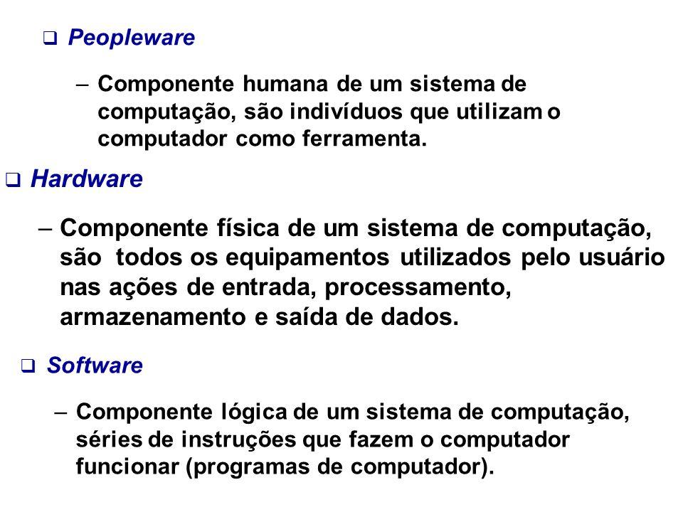 Hardware –Componente física de um sistema de computação, são todos os equipamentos utilizados pelo usuário nas ações de entrada, processamento, armaze