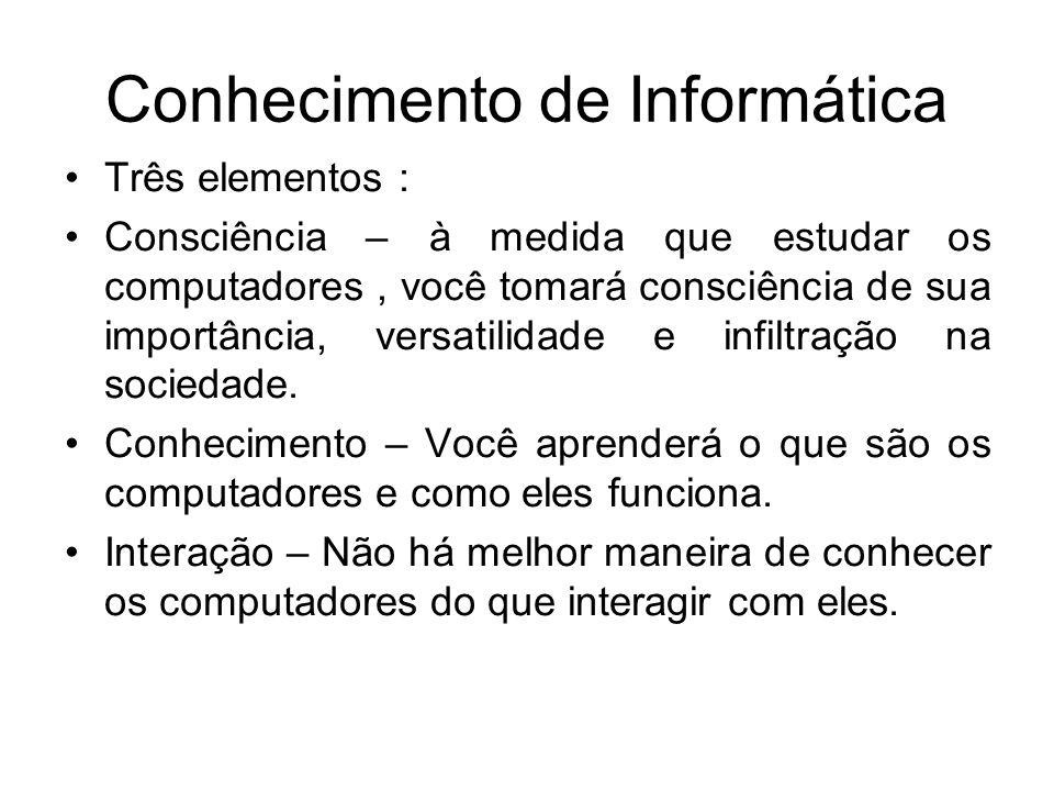 Conhecimento de Informática Três elementos : Consciência – à medida que estudar os computadores, você tomará consciência de sua importância, versatili